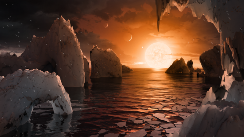 Artist rendition of the planet TRAPPIST-1e in the TRAPPIST-1 system, shown here appearing Earth-like both in atmosphere and ocean... so I assume carbonates (ahem... Mars... I'm lookin' at you bro).
