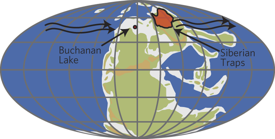 ~250 million years ago, Earth looked a lot different than it does today. The orange region highlights the region of the Siberian Traps.
