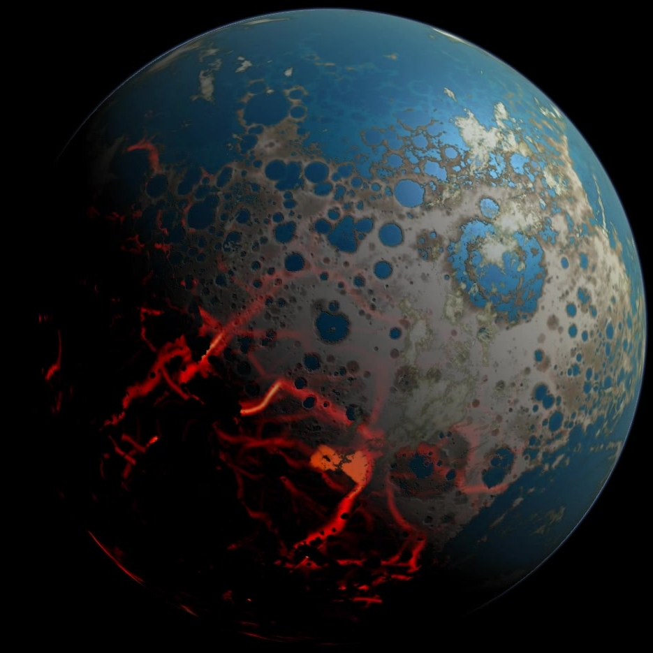 Artist's depiction of Earth during the Hadean eon >4 billion years ago.