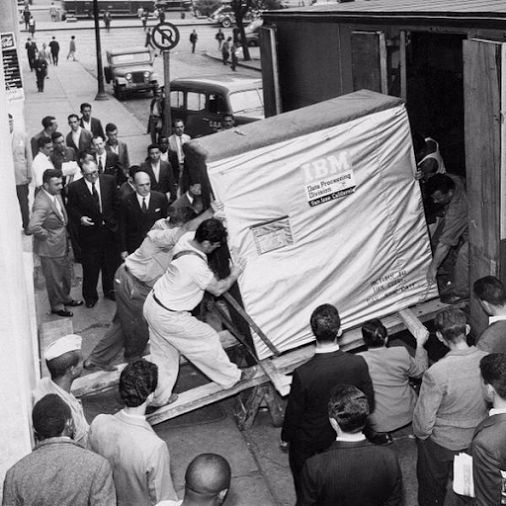 The IBM 350 Disk Storage Unit with a 5 mb storage capacity, capable of recording in 6 bits. This additional storage unit was used to supplement the IBM 305 RAMAC vacuum tube computer (not pictured). September, 1956.