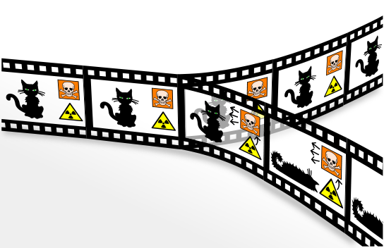 "The quantum-mechanical ""Schrödinger's cat"" paradox according to the many-worlds interpretation. In this interpretation, every event is a branch point. The cat is both alive and dead—regardless of whether the box is opened—but the ""alive"" and ""dead"" cats are in different branches of the universe that are equally real but cannot interact with each other.     Note: Both Image & caption text are taken verbatim from Wikipedia Commons."