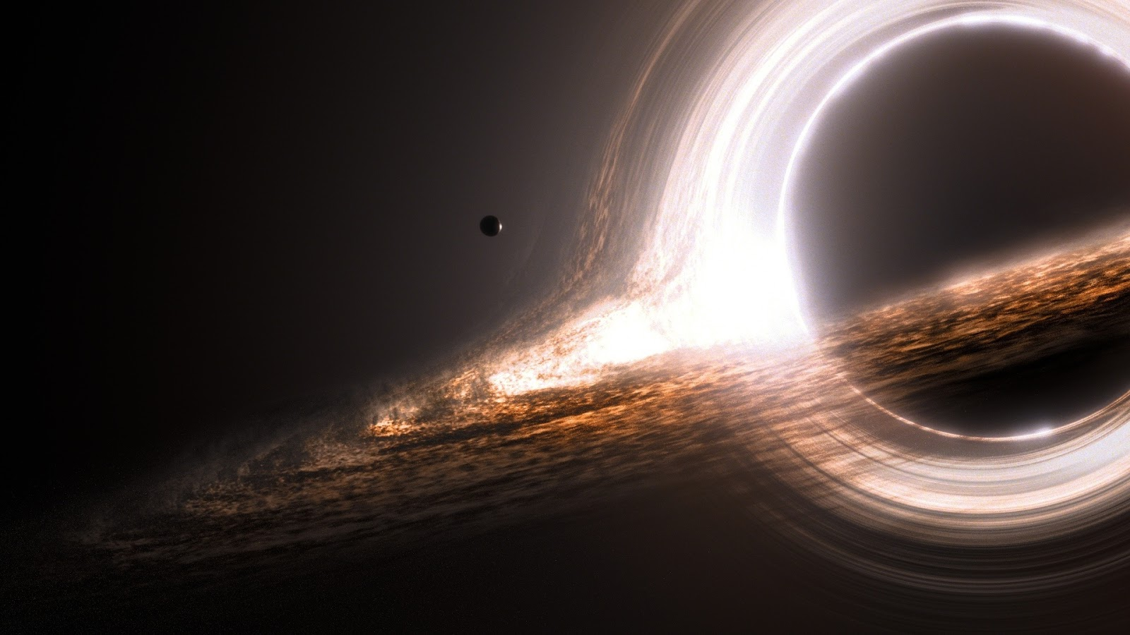 Screenshot of a CGI expert's interpretation of a black hole; taken from the stellar movie, Interstellar.