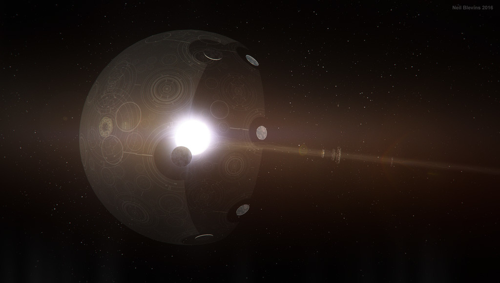 An artist's depiction of a Shkadov thruster. Such structures would theoretically be necessary for Type II, and certainly Type III civilizations (based off the Kardashev scale).    Image credit: Neil Blevins