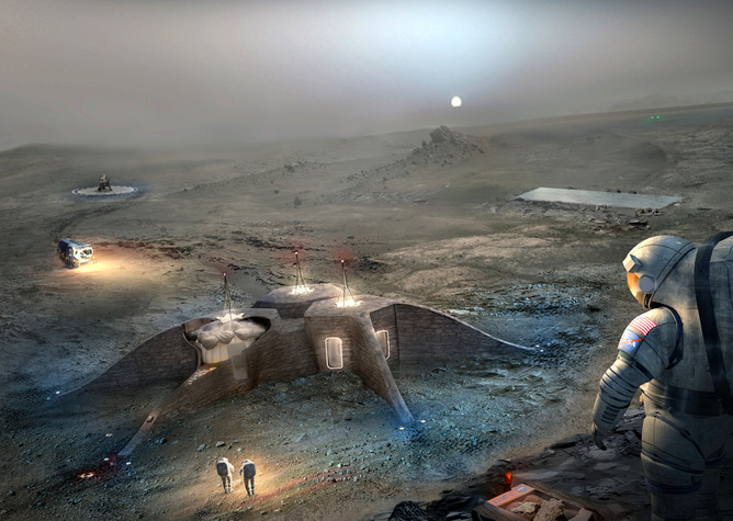 "Artist's depiction of a Mars habitat. For more on my thoughts about colonizing Mars, please peruse my ""To Mars or Bust Series"" found on my website:    www.RookAndalus.com       Image Credit: NASA/Team Gamma"