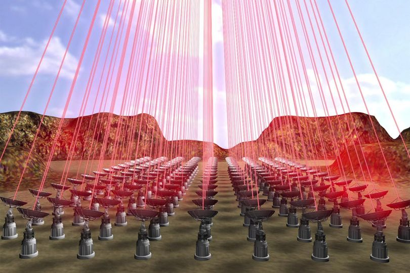 An artist's depiction of the 100-Gigawatt laser array in a place where there are no earthquakes... probably.