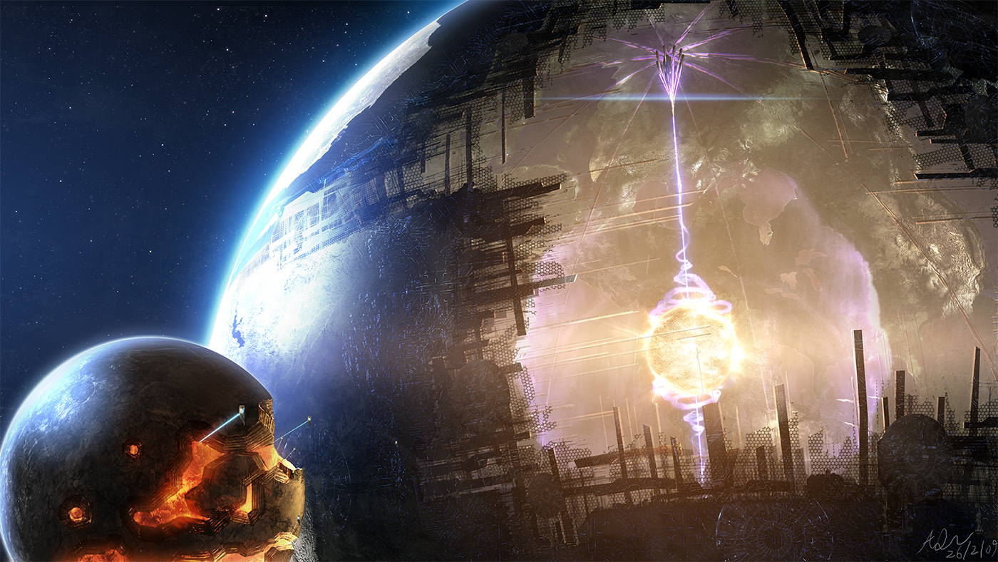 An artist's depiction of how a Dyson sphere might look prior to completion. Though, building a sphere in this manner would be extremely inefficient.. but it's just too cool looking not to use for a visual here.    Art Credit: Adam Burn