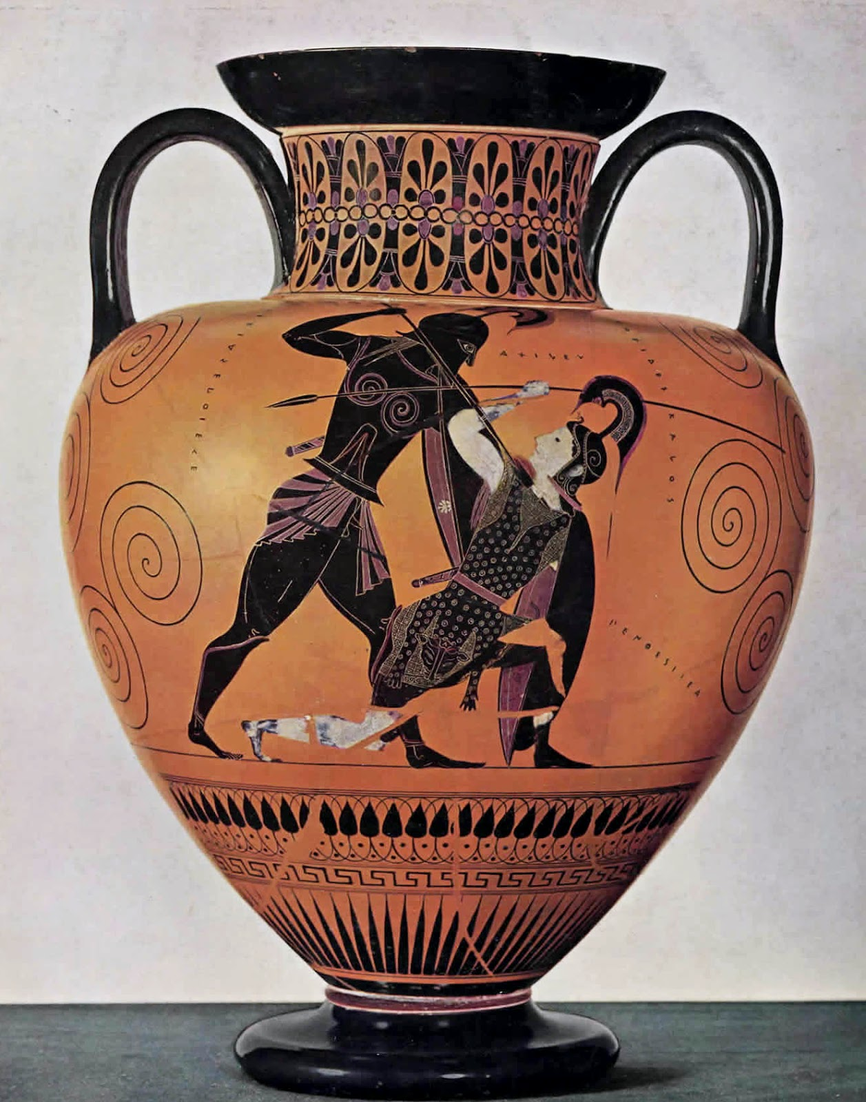 One of my favorite black-figure pieces... Achilles realizing he loves the Amazonian, Penthesilea, in the very moment he thrusts his spear into her heart during a battle for Troy. A tragic end that may serve as a metaphor to this two-part blog. But what do I know.