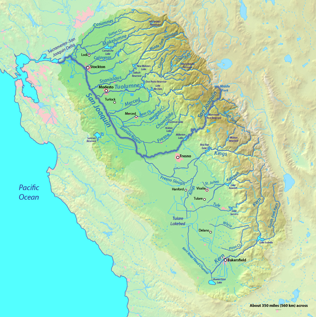 The San Joaquin watershed. The Tulare Lakebed was once host to a large freshwater lake; a remnant of the prehistoric Lake Corcoran. Lake Corcoran once filled the California's Central Valley. Kern and Buena Vista lakes are also remnants of Lake Corcoran.