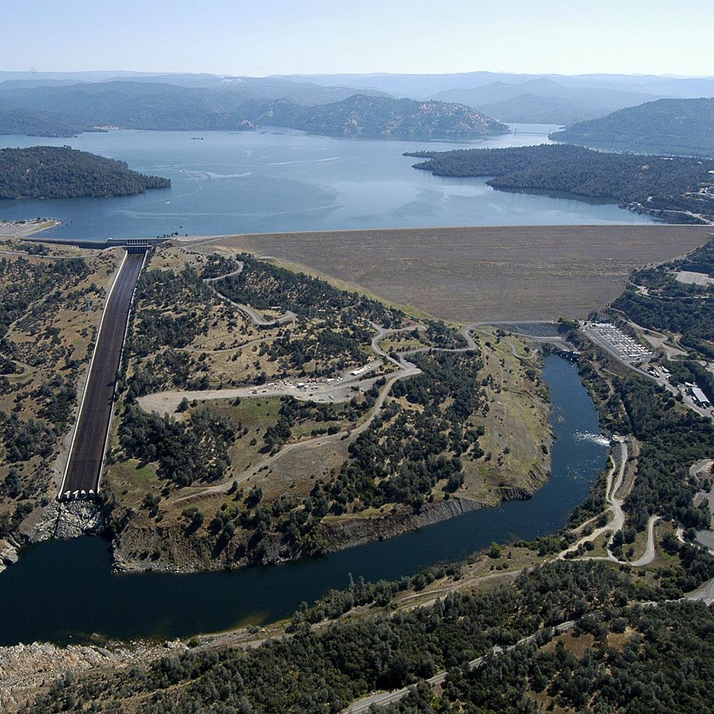 Oroville dam and reservoir. The reservoir has a volume of over 3.5 million acre-feet. However, California's drought reduced this volume to about 1.5 million acre-feet.