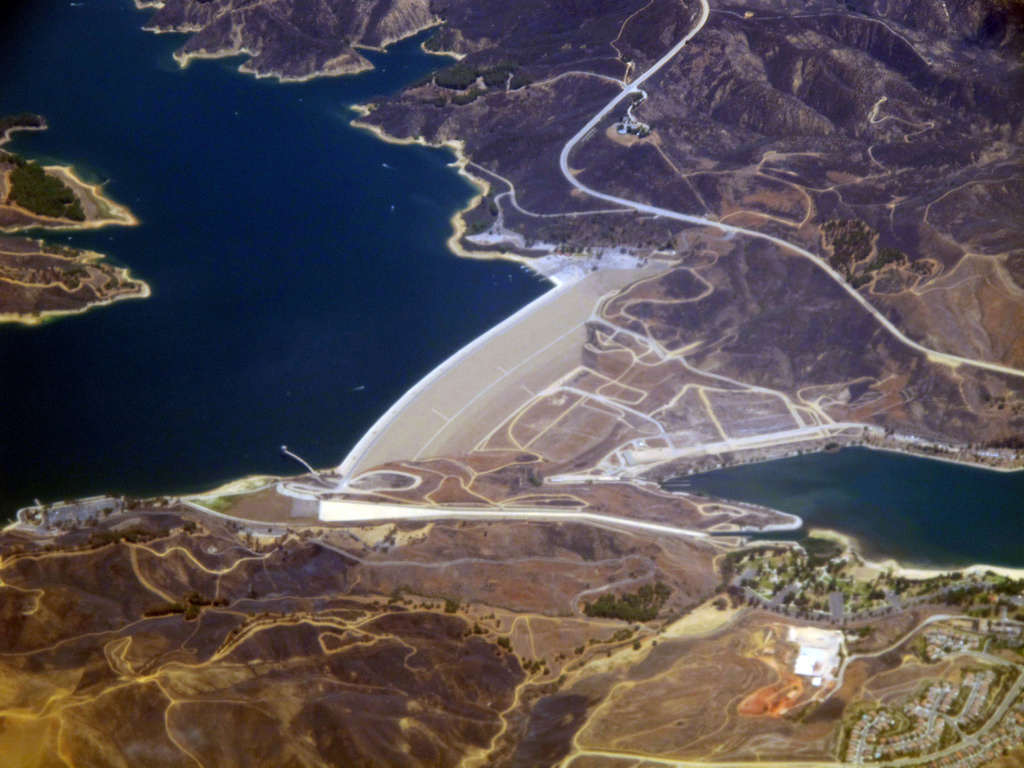 Castaic reservoir and dam. Watering lawns across the southland since 1973.