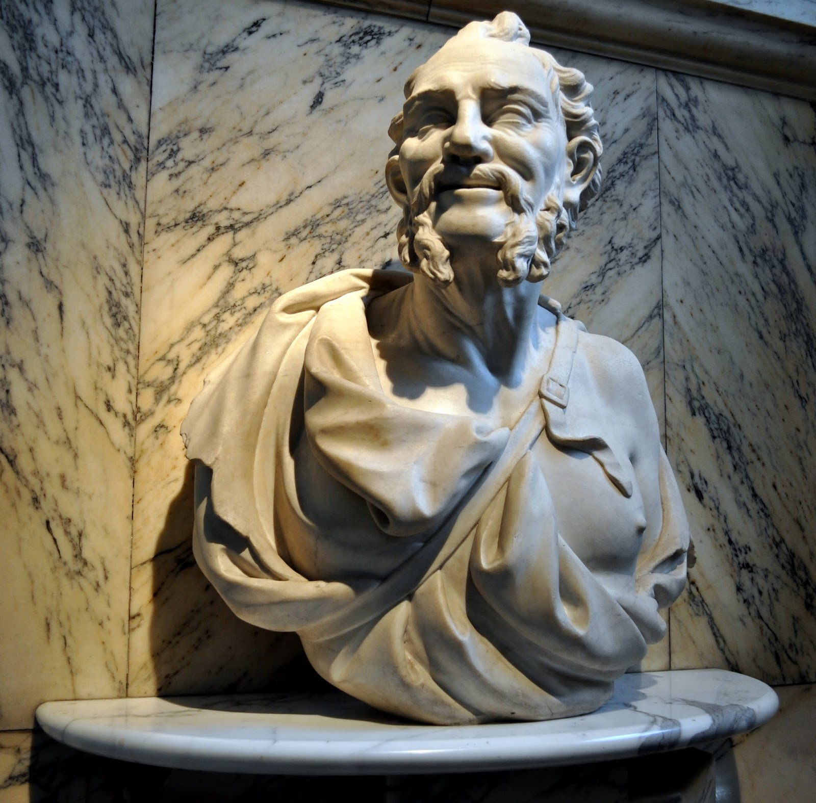 An Italian-made bust of Democritus from the 1700s