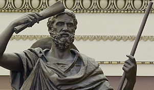 Herodotus seen here attempting to memorize a Homeric epic via osmosis.