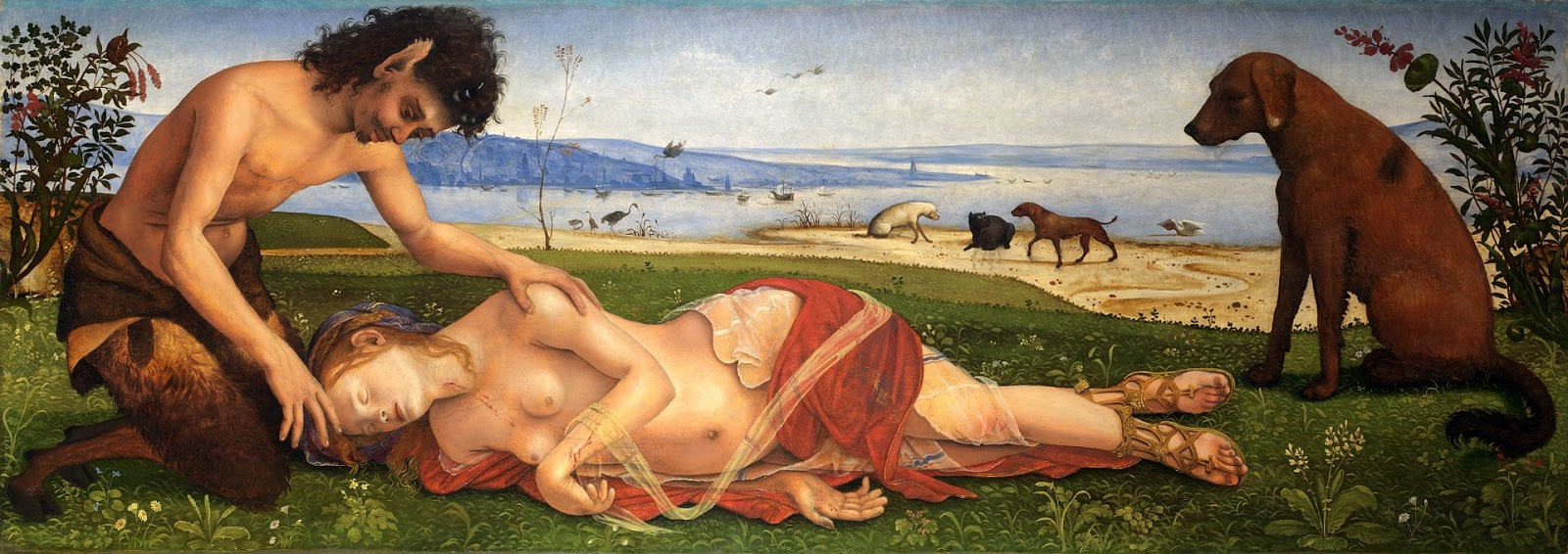 """Piero di Cosimo's painting depicting Procris taking a nap because of a severe headache she had trying to figure out who the hell Laelaps belonged to (seen on the right and in the back). The satyr by her side is asking her which myth they're in... Ovid's, Sophocles', Pherecydes, Hyginus, or if Herodotus somehow got involved too... """"Go away. I just want to sleep."""""""