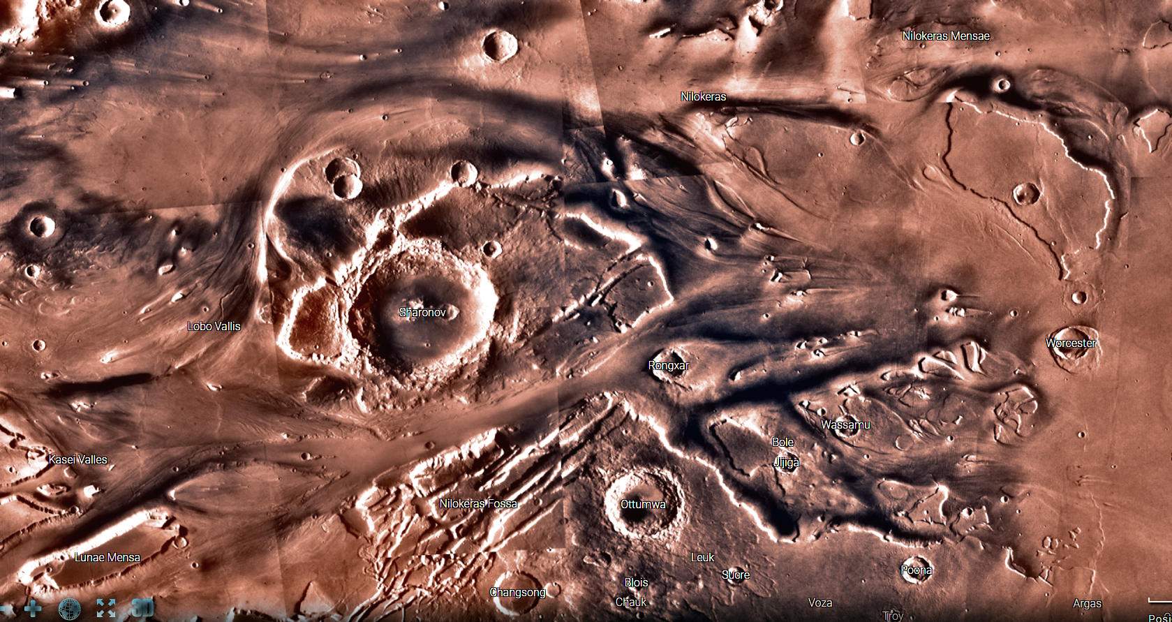 Deep-cut canyons, and apparent flow direction from left-to-right can be seen in this image of the northern portion of Kasei Valles. The reverse flow seen as lighter-colored tails trailing off small craters in the top-left portion of this image are unrelated features caused by more recent winds. This image is a screenshot I captured from NASA's interactive Mars explorer map.