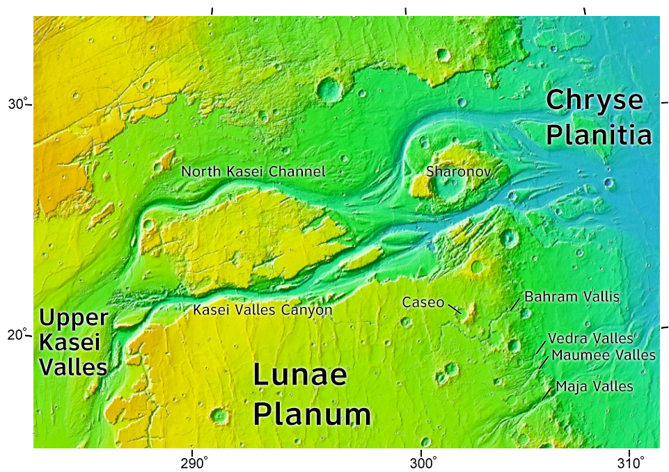 This is a color-enhanced topographical map of the upper Kasei Valles region that shows the interpreted outflow channels. Flow is apparent from the bottom-left of the image, then up-and-to-the-right towards and onto the volcanic plain (in blue).  Image Source: Wikipedia
