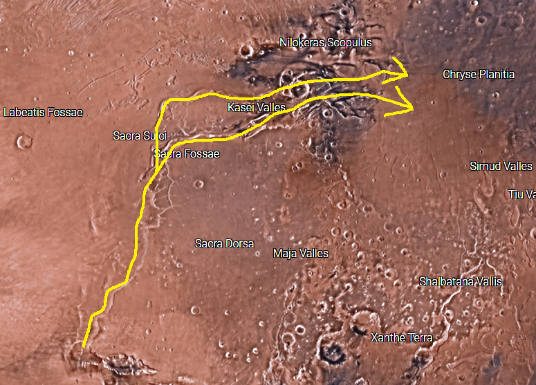 In this screenshot I took from NASA's interactive Mars map, groundwater appears to have risen to the surface at Echus Chasma on the lower left, then flowed northward towards Sacra Fossae before splitting into two distinct channels that reconnect in northern Kasei Valles before flowing out across Chryse Planitia. I probably should have made the arrows reconnect, but artistic drawing isn't my forte'. You can explore NASA's increcible map here:  https://mars.nasa.gov/maps/explore-mars-map/fullscreen/