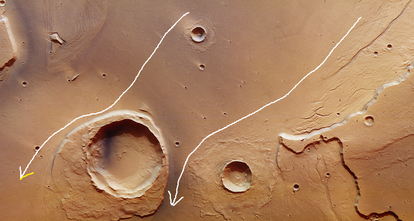 "The large crater on the lower left is Worcester crater, found near the mouth of the outflow channel in Kasei Valles adjacent the wide-open volcanic plain. The arrows indicate direction of flow. Note the heavy erosion on the side of Worcester crater facing the oncoming flow, and the trailing depositional material on the opposite side. Such erosional and depositional features are common on Earth with regard to rivers or catastrophic flooding events.  The smaller crater to the right was created after the hypothesized catastrophic flooding event. Note that deposition of material around the smaller crater has a ""splash"" look to it, as if the meteor had hit either a softer muddier surface or one with water ice that temporarily melted upon impact causing ejection material to ooze or flow radially outward. It appears another smaller crater near the top-center of this image shows the same features. (for reference, north is towards the right in this image).  Image Credit: ESA/DLR/FU Berlin,   CC BY-SA 3.0 IGO"