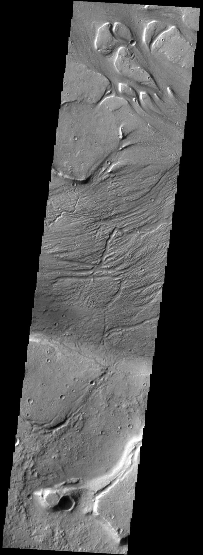 This series of images stitched together as one, show several interpreted streamlined islands in Kasei Valles near the 'mouth' of the outflow channel where it empties out onto a volcanic plain. The supposed tear-drop-shaped island features can be seen near the top of the image. Such features are commonly seen in river channels across Earth, which leads some scientists to believe these features are supporting evidence that Kasei Valles is a series of river channels. Though, as we'll discuss in Part 2, such features can also be created by wind deposition, as well as turbidity flows.  As a personal note, I believe this image shows good evidence of water flow, but it is also important we remember gravity, atmospheric pressure, etc. are nothing like they are on Earth, and as such we should be very careful about how we interpret things that might look the same as similar features on Earth, but could be completely different. One might best represent this image as saying it looks very much like (fill in the blank), rather than saying this absolutely is (fill in the blank). The distinction is critical, and representative of current understanding. That's science. With that said, I think this is strong evidence for past water flow. Image Credit: NASA/JPL