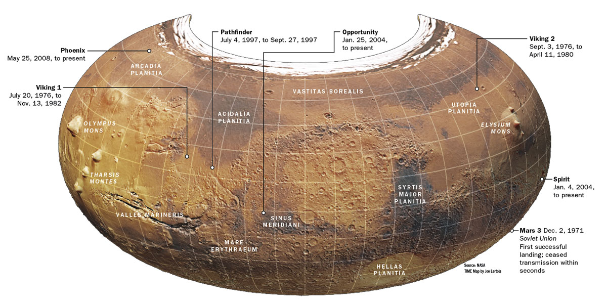 It's best I start this post off with a map of Mars, as we'll be covering many areas in its northern hemisphere.  Credit: This map of Mars appeared in the Oct. 27, 2008 issue of Time Magazine.