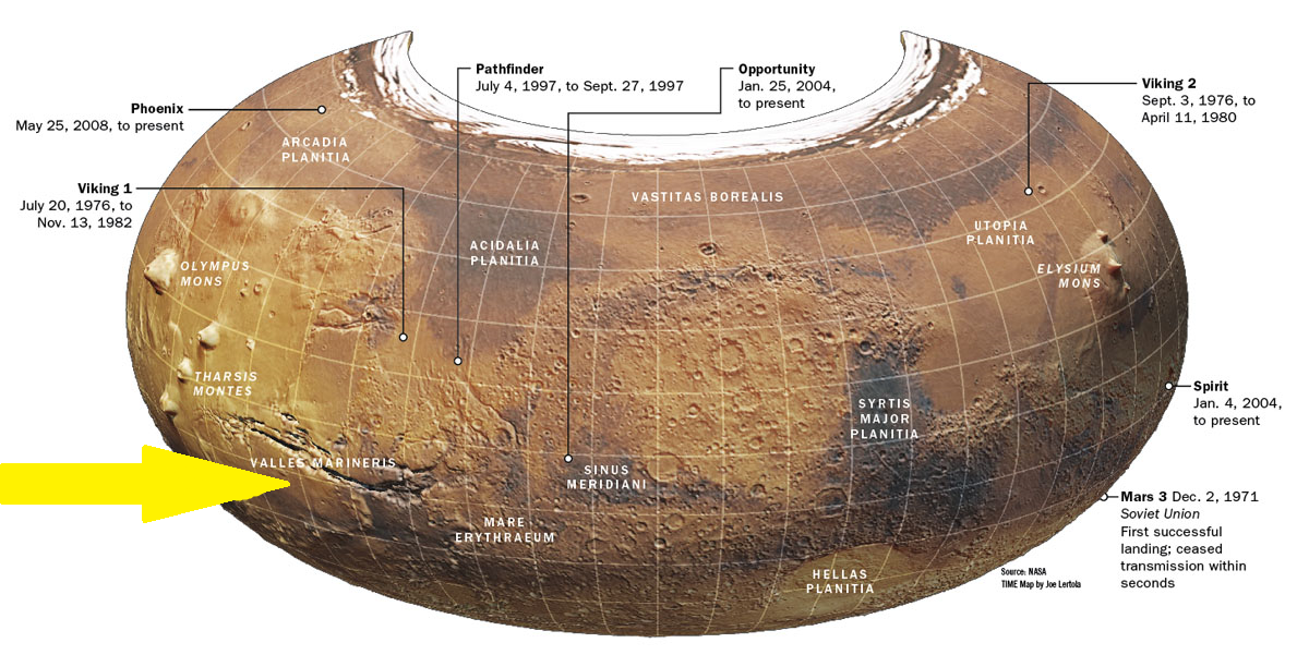 Location of Valles Marineris. Click to enlarge.