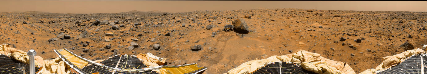 Here is another photo, this time an incredible panoramic shot capturing the vast ancient flood plain in Ares Vallis taken by Pathfinder.