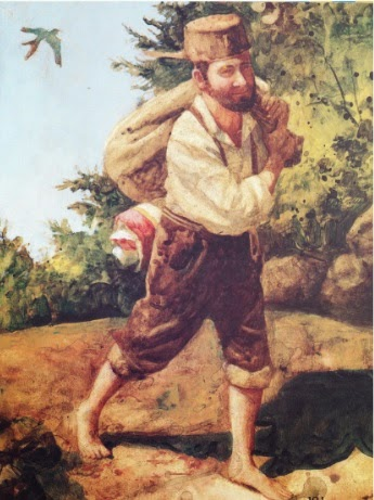 Johnny Appleseed carrying a bag full of.... ....seeds.