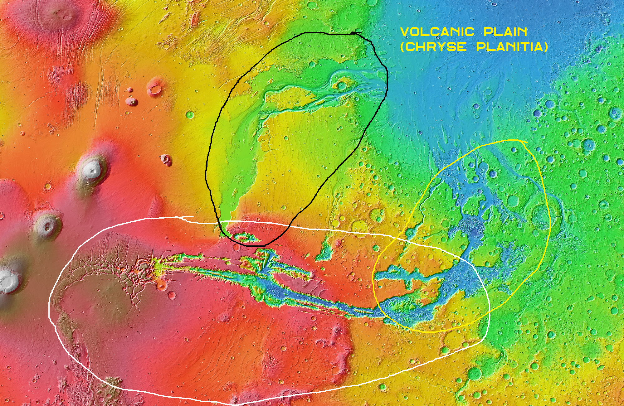 The stress rifts of Valles Marineris are circled in white, the outflow channels from the right end of these rifts are circled in yellow and flow out onto the volcanic plains of Chryse Planitia, along with the outflow channels of Kasei Valles (circled in black).