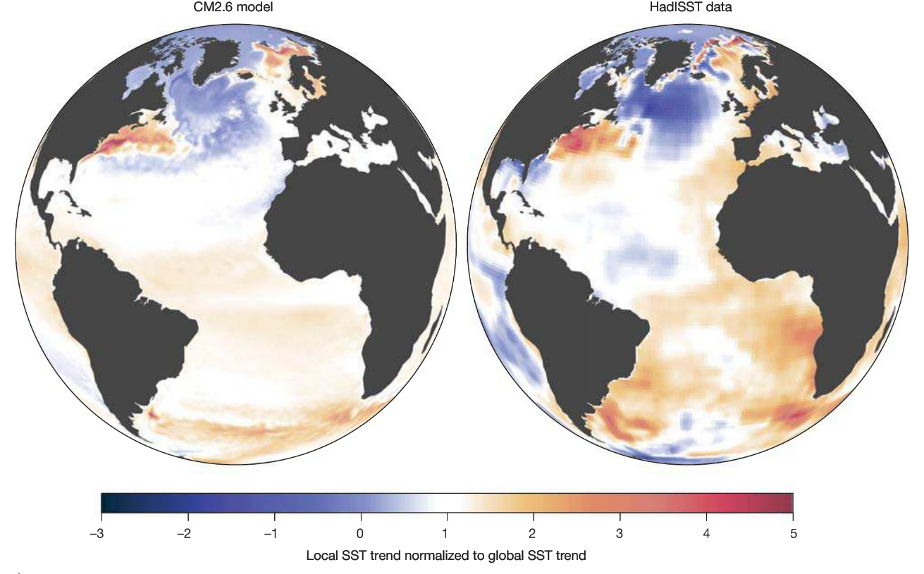 Fig. 4  The right image shows observed sea surface temperature anomalies. Reds indicate temperatures above the global mean surface water temperature, and blues indicate temperatures below the mean. Note the extreme warming along the U.S. east coast, and cold patch in the North Atlantic sub-polar gyre region. The image on the left was generated from a high-resolution climate computer model based off increasing atmospheric carbon dioxide (Caesar et al., 2018).