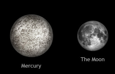 Size comparison between Mercury, and our moon.