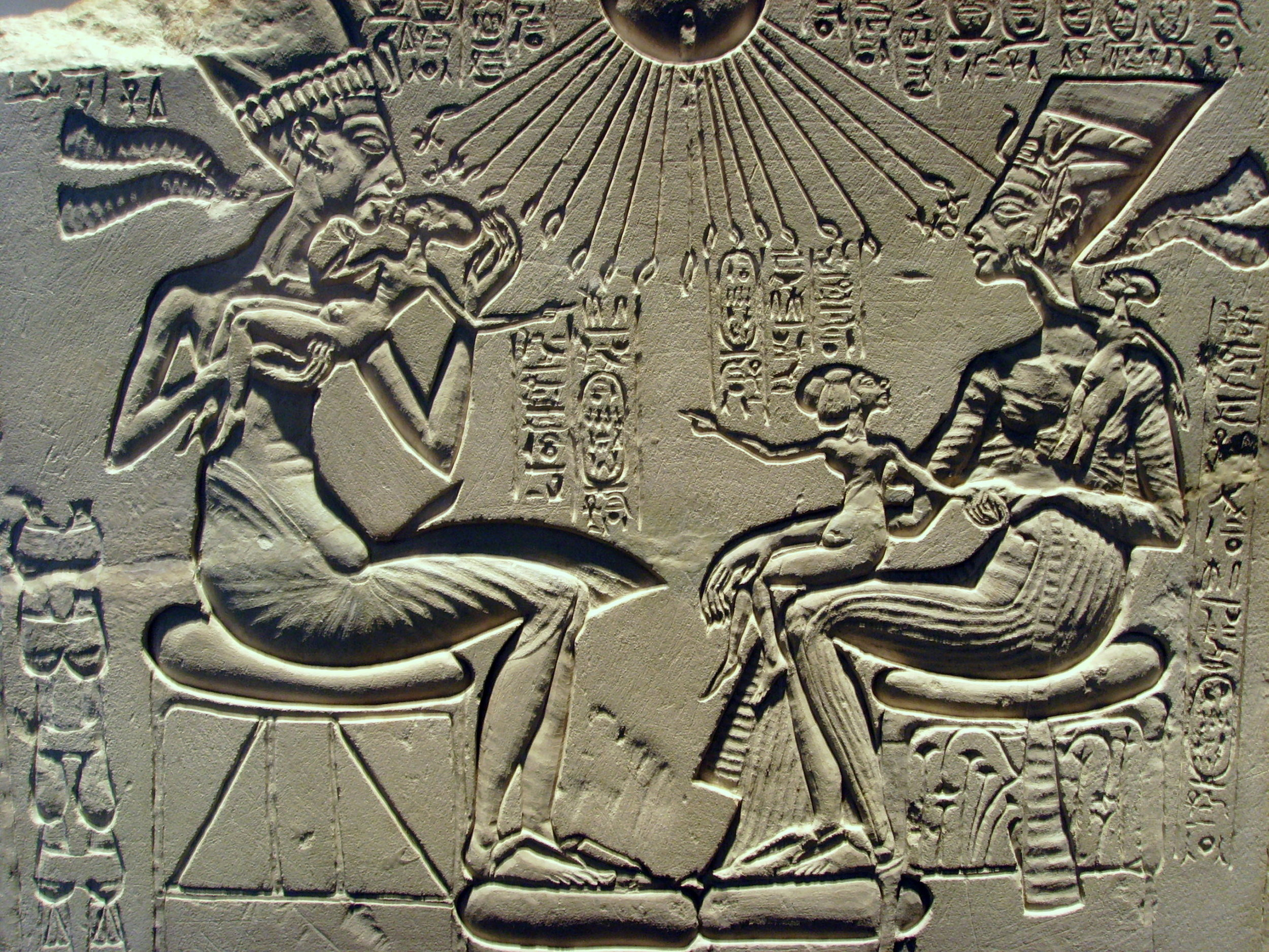 Akhenaten and Nefertiti with three of their daughters. Fluid depictions like this were unprecedented in Egyptian history.