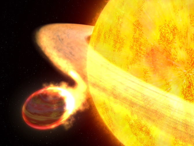 An artist's depiction of a star eating the exoplanet, WASP-12b. We can imagine it being a first-generation super-Earth from our own solar system being consumed by the Sun.  Photo Credit: NASA/ESA/G. Bacon