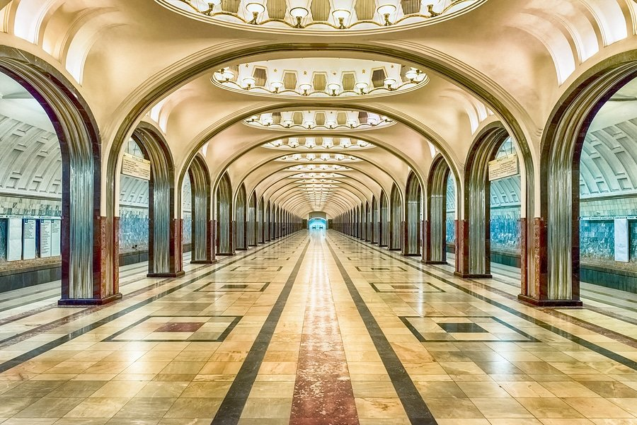 Mayakovskaya Subway Station in Moscow.
