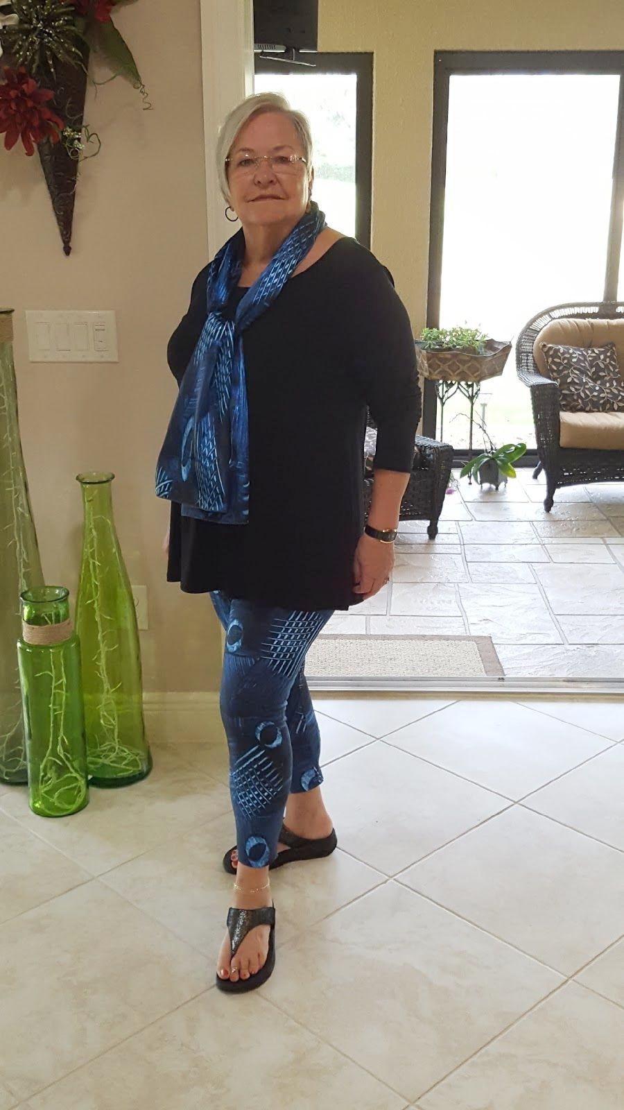 """Just wanted to let you know I'm a plus size women! PROUD OF IT! XL Mayhem yoga pants fit great!""    - Sheryl wearing the Mayhem yoga leggings and Mayhem satin chiffon scarf"