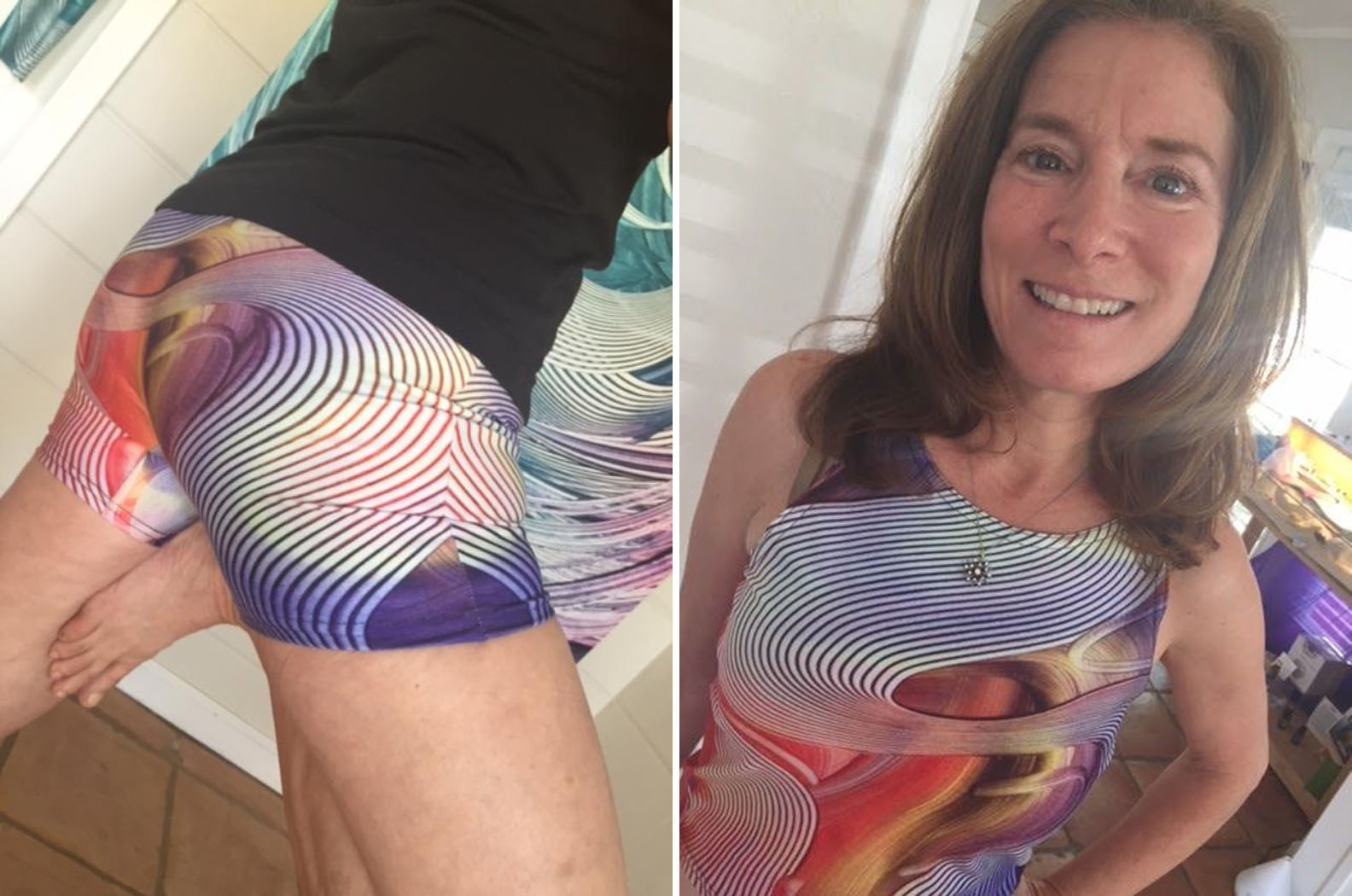 """Spirit Elevated - """"Your new line of inspirational athleisure-wear birthed from your stunning paintings elevates my spirit.""""- Stacy wearing the Empower Crop Top and Shorts"""