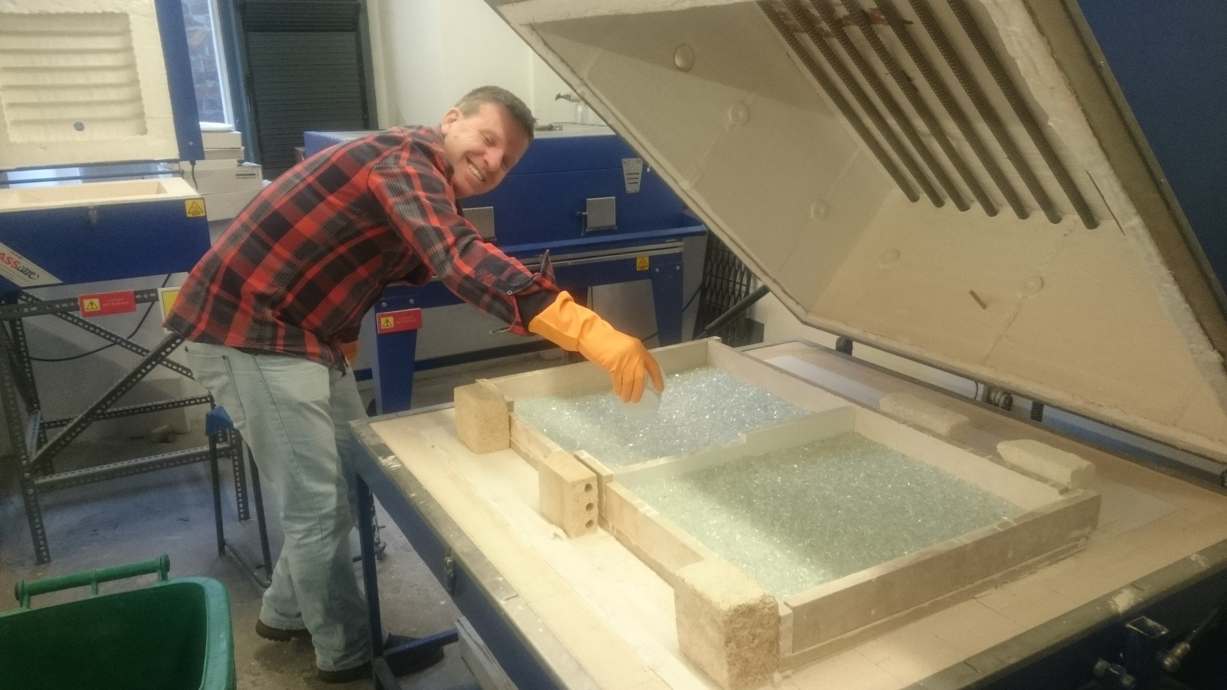David Halley making samples for impact testing of the recycled glass