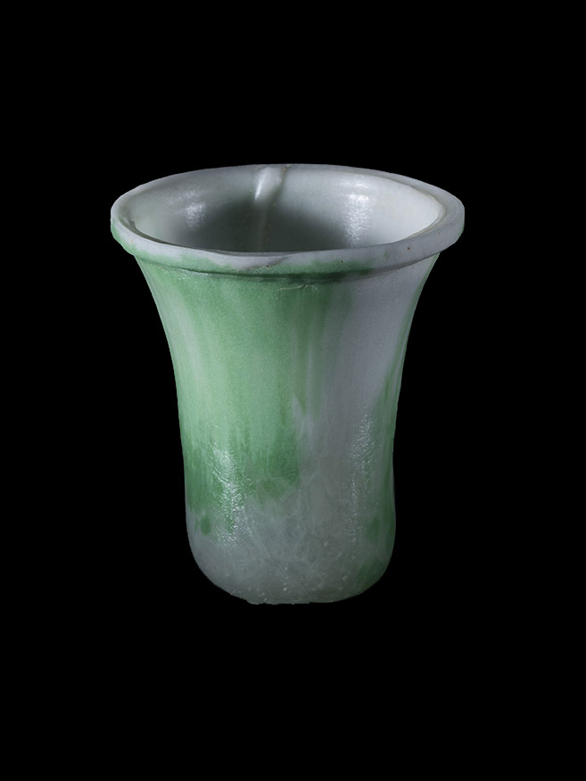 White and green vase, fused and slumped
