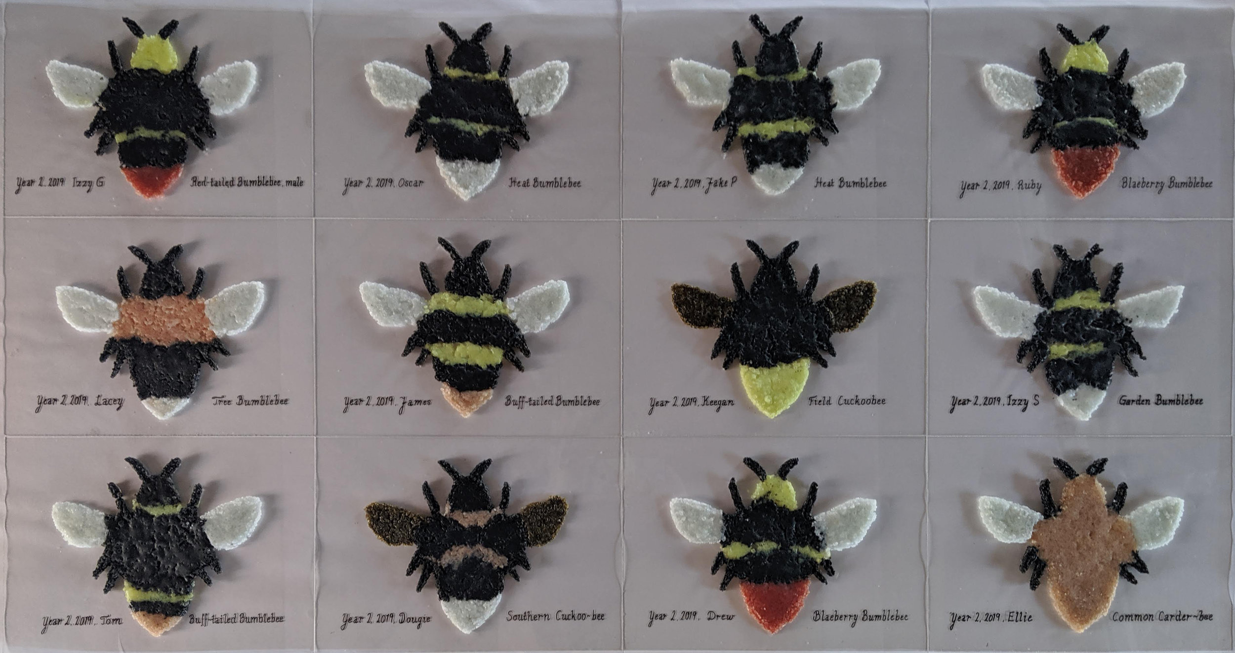 Recycled glass bumblebees representing the colour of its kind