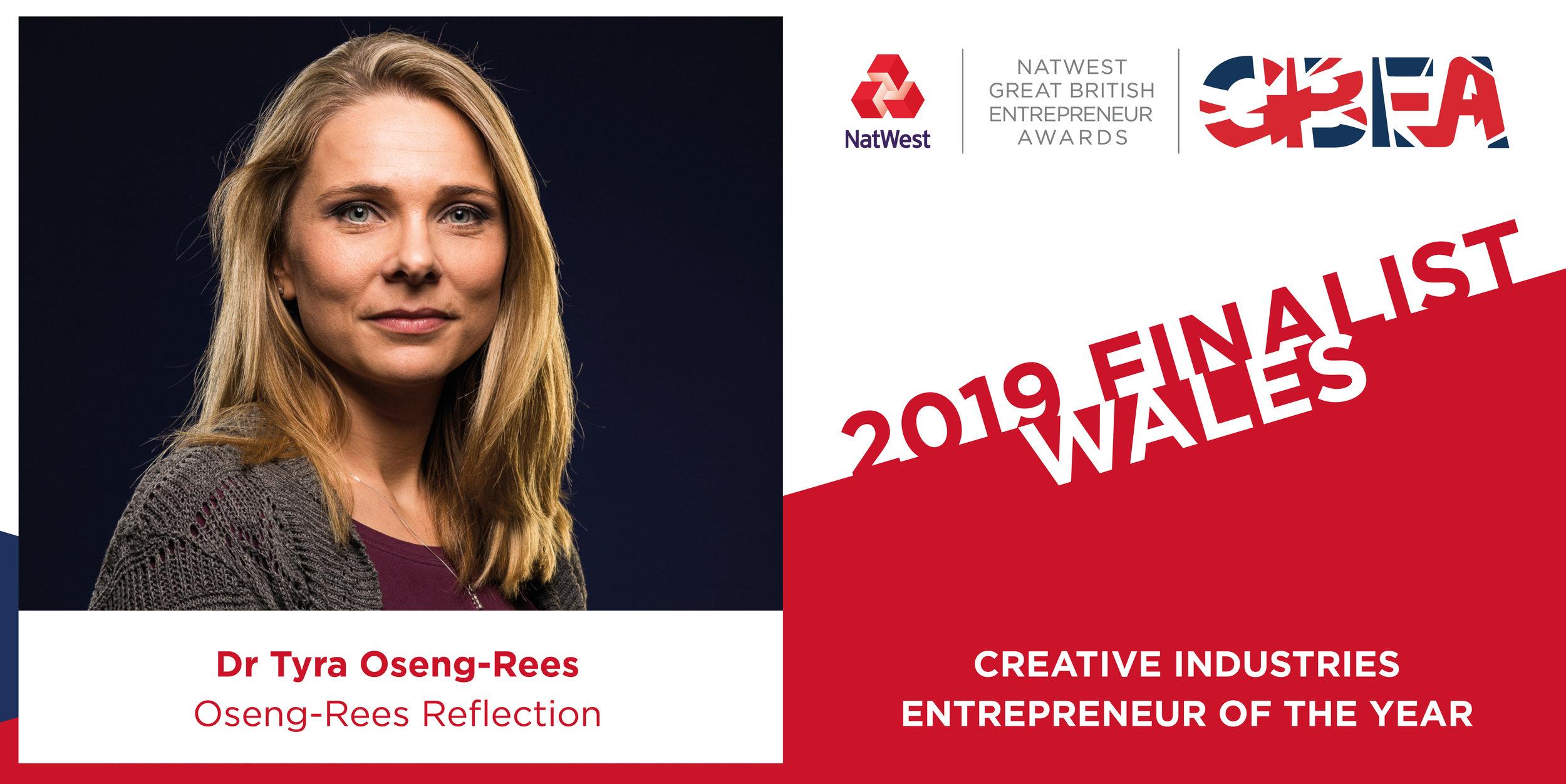Great Britain Entrepreneur Award - Finalist: Creative Industries Entrepreneur of the Year 2019