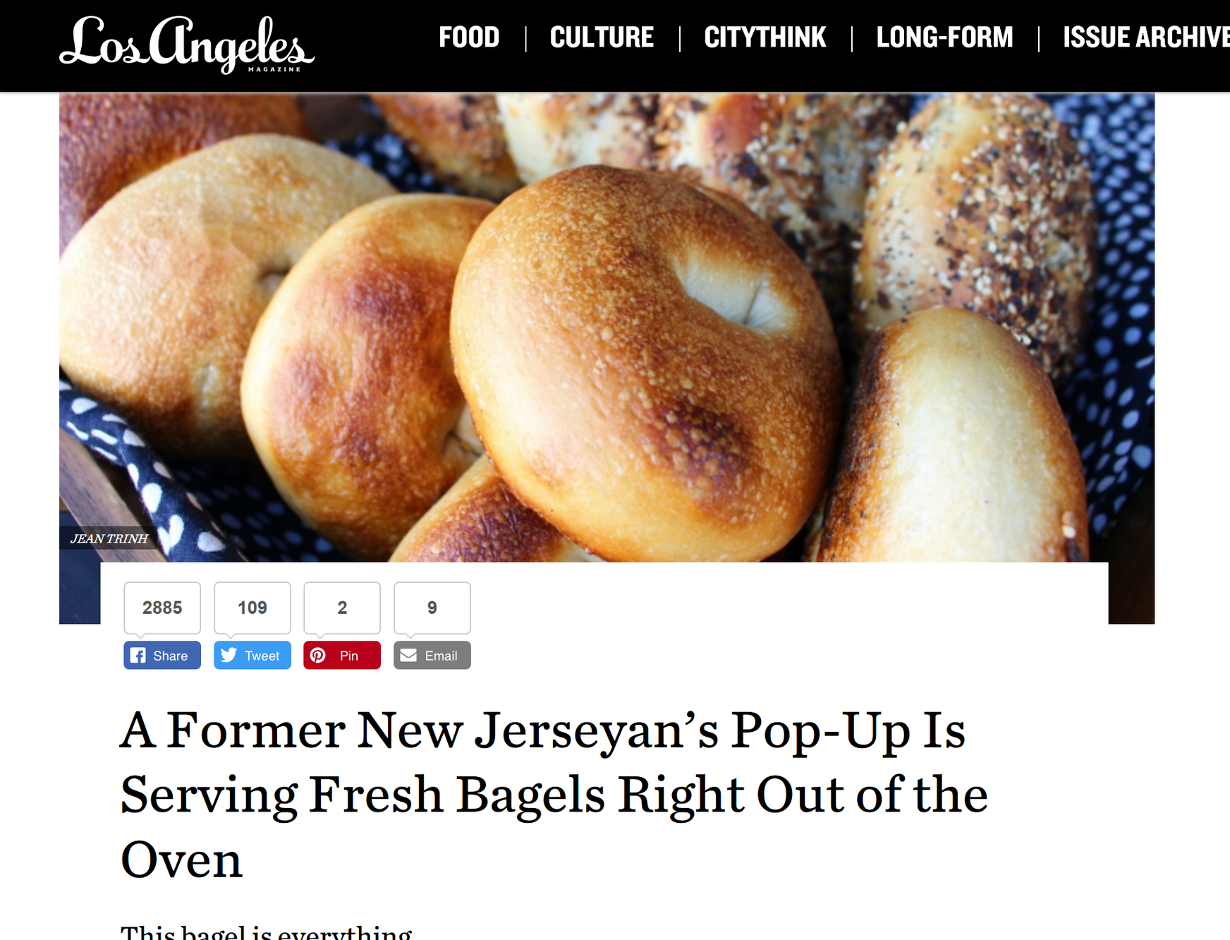 """""""Sure, we've all had our bagels toasted before, but in L.A., it's not often that we're able to perfectly time ordering and getting a warm, freshly baked one right out of the oven. That's where   Pop's Bagels   comes in."""""""