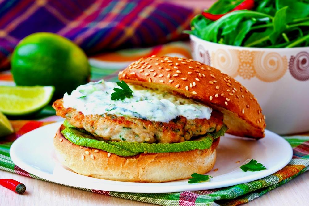 Blended Chicken Burger with Grilled Zucchini & Tzatziki Sauce
