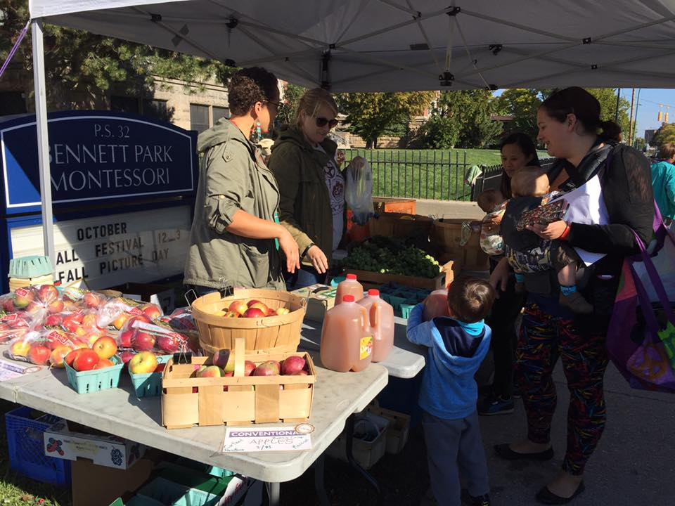 Families sample the local harvest during the annual Fall Fast in October