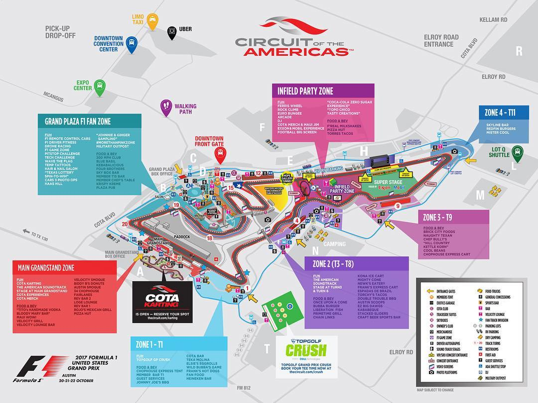 Map for Race Weekend at Circuit of the Americas