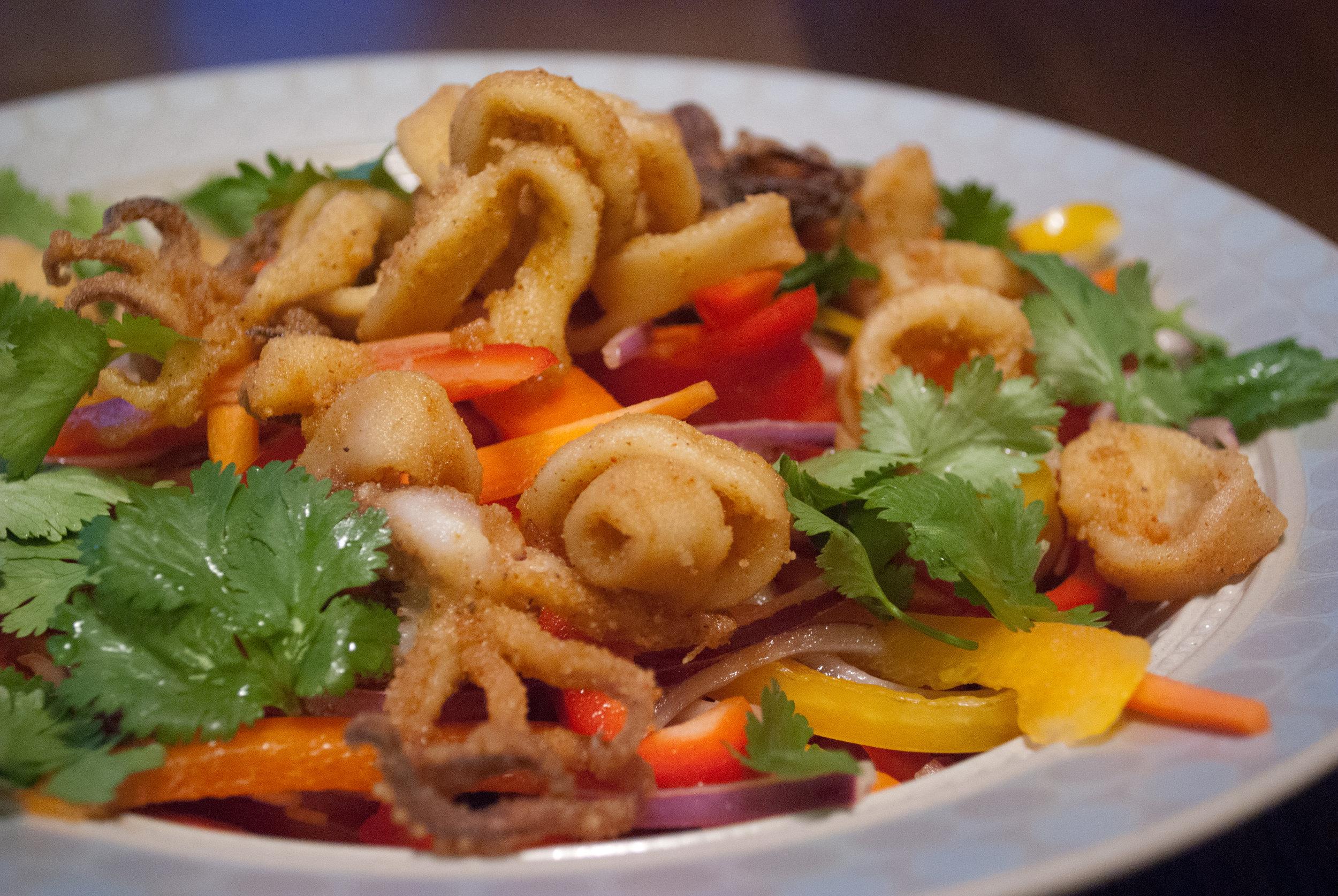 Chilli Salt Squid Salad