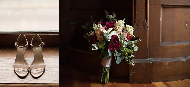 nude shoes and deep mauve bouquet
