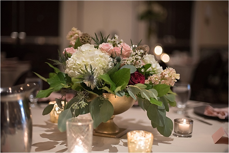pink burgundy and navy floral centerpieces
