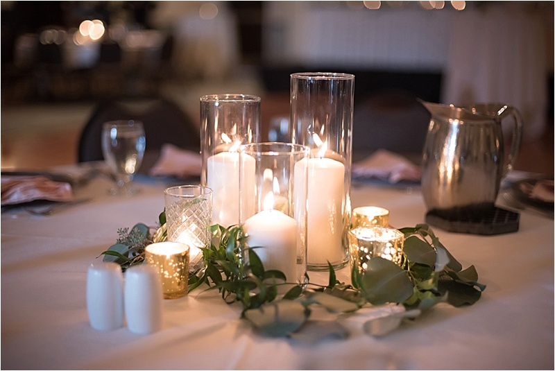 pillar candles in candlelight wedding reception