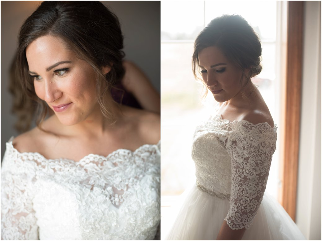 deconstructed updo and lace off the shoulder wedding dress
