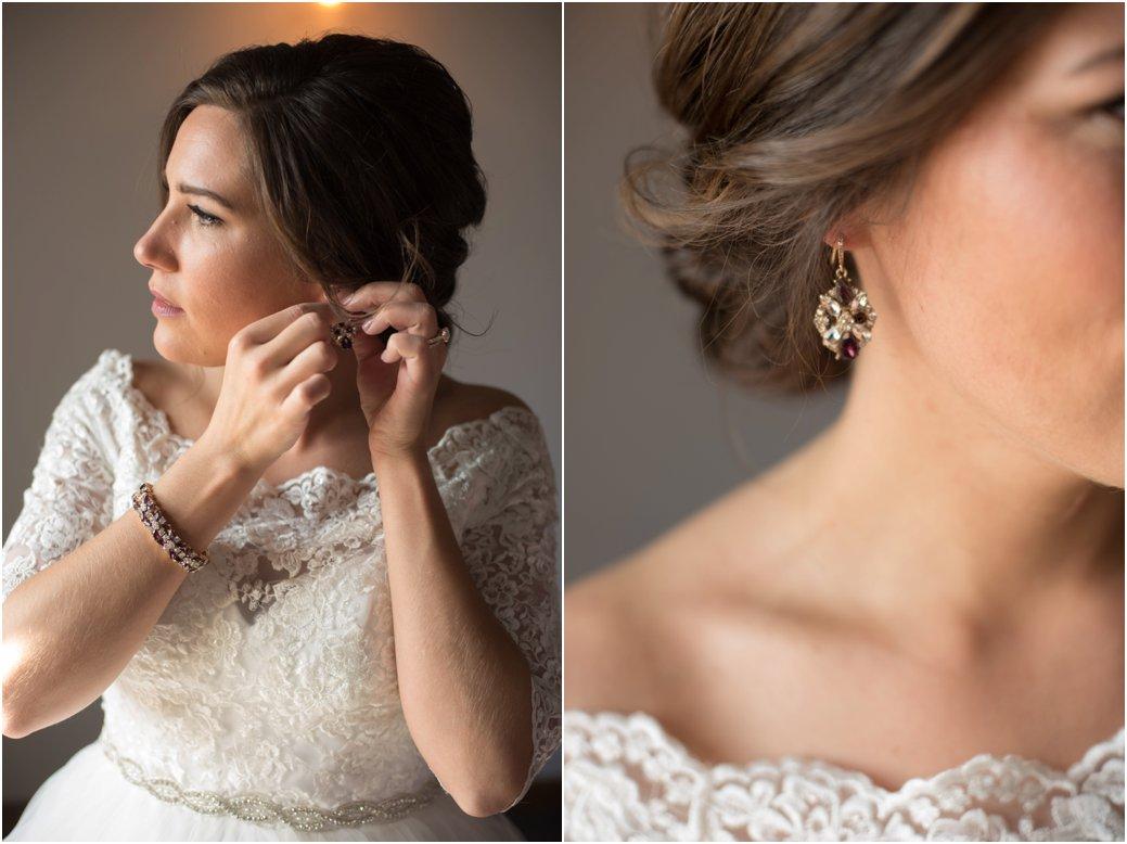 jewel toned chandelier wedding earrings
