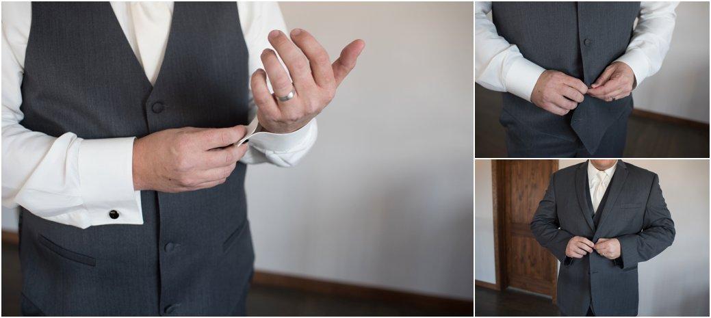 grooms three piece gray suit
