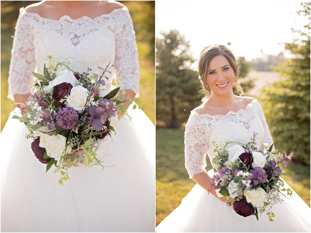 plum and blush florals with off the shoulder ballgown